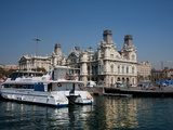 Old Barcelona Port Authority Building at Base of Rambla Del Mar, Barcelona, Spain Photographic Print by Adina Tovy