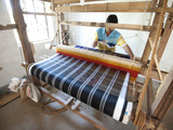 Man Weaving Coloured Silk Sari on Domestic Loom, Rural Orissa, India, Asia Photographic Print by Annie Owen