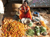 Woman at Roadside Vegetable Stall Selling Tomatoes, Beans and Cauliflowers, Rural Orissa, Inda Photographic Print by Annie Owen