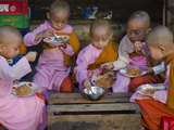 Young Novice Nuns Having their Breakfast in the Streets of Yangon, Myanmar (Burma), Asia Photographic Print by Eitan Simanor