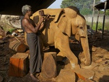Sri Lankan Wood Carver Making Wooden Statue of Asian Elephant, the Factory, Polonnaruwa, Sri Lanka Photographic Print by Peter Barritt