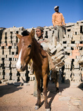 Donkey Getting Unloaded by Young Male Nepali Worker in Outdoor Brick Kiln, Kathmandu, Nepal Photographic Print by Phil Clarke-Hill