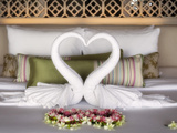 Towels Shaped into Loveheart in Villa, Shore, Katathani Resort, Kata Noi Beach, Phuket, Thailand Photographic Print by Lynn Gail