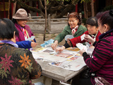 Women Playing Cards at Bamboo Temple Dating Back to Tang Dynasty, Kunming, Yunnan Province, China Photographic Print by Lynn Gail