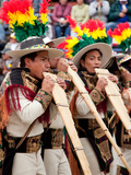 Bolivian Men Playing Pan Pipes, Oruro Carnival Procession Parade, Oruro, Bolivia, South America Photographic Print by Phil Clarke-Hill