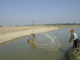 Youngster Fishing with Fishing Net in a Waterway, Irrawaddy Delta, Myanmar (Burma), Asia Photographic Print by Eitan Simanor