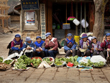 Group of Naxi Women Selling Vegetables in Baisha Village, Lijiang, Yunnan Province, China, Asia Photographic Print by Lynn Gail