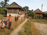 Nepali Children Next to the Pathway Leading into their Village, Makwanpur District, Narayani, Nepal Photographic Print by Phil Clarke-Hill