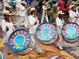 Drummers and Brass Band, Oruro Carnival Procession Parade, Oruro, Bolivia, South America Photographic Print by Phil Clarke-Hill