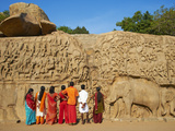 Arjuna's Penance Granite Carvings, Mamallapuram, UNESCO World Heritage Site, Tamil Nadu, India Photographic Print by  Tuul