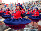 Female Dancers, Oruro Carnival Procession Parade, Oruro, Bolivia, South America Photographic Print by Phil Clarke-Hill