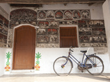 Ornately Hand Painted Wall of Artist's House, Typical Orissan Style of Work, Raghurajpur, India Photographic Print by Annie Owen