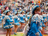 Female Carnival Dancers, Oruro Carnival Procession Parade, Oruro, Bolivia, South America Photographic Print by Phil Clarke-Hill
