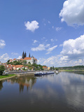 Cruise Ship on the River Elbe, Meissen, Saxony, Germany, Europe Photographic Print by Michael Runkel