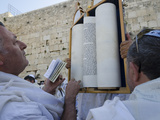 Traditional Cohen's Benediction at Western Wall, Old City, Jerusalem, Israel Photographic Print by Eitan Simanor