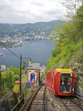 View of City of Como from Como-Brunate Funicular, Lake Como, Lombardy, Italian Lakes, Italy, Europe Photographic Print by Peter Barritt