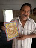 Raghurajpur Artist Holding Up His Detailed Orissa Style Painting, Raghurajpur, Orissa, India Photographic Print by Annie Owen