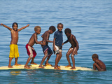 Happy Children Playing on the Beach of Savo Island, Solomon Islands, Pacific Photographic Print by Michael Runkel