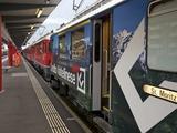 Bernina Express Bound for St. Moritz, Switzerland, at Tirano Station, Italy, Europe Photographic Print by Peter Barritt