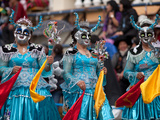 Female Devil Dancers, Oruro Carnival Procession Parade, Oruro, Bolivia, South America Photographic Print by Phil Clarke-Hill
