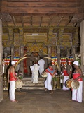 Drummers Inside Temple of Tooth Relic, UNESCO World Heritage Site, Kandy, Sri Lanka Photographic Print by Peter Barritt