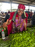 Friendly Sales Woman at the Market of Mount Hagen, Highlands, Papua New Guinea, Pacific Photographic Print by Michael Runkel