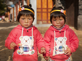 Portrait of Chinese Twin Girls, Shaxi, Yunnan Province, China, Asia Photographic Print by Lynn Gail