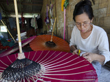 Woman at Work at an Umbrella Workshop, Pathein, Irrawaddy Delta, Myanmar (Burma), Asia Photographic Print by Eitan Simanor