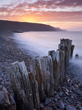 Sunset over Bossington Beach, Exmoor, Somerset, England, United Kingdom, Europe Photographic Print by Adam Burton