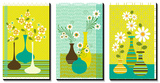 Retro Flowers in Vase Triptych Prints