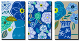 Blue Flower Swirls Triptych Prints