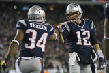 NFL Playoffs 2013: Texans vs Patriots - Shane Vereen and Tom Brady Photographic Print by Elise Amendola
