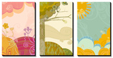 Retro Landscapes Triptych Art
