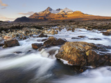 Sunrise View of Black Cuillin Mountain Sgurr Nan Gillean, Glen Sligachan, Isle of Skye, Scotland Photographic Print by Chris Hepburn