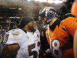 NFL Playoffs 2013: Ravens vs Broncos - Ray Lewis and Peyton Manning Photographic Print by Jack Dempsey