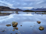Snow Covered Mountains, Lochan na h-Achlaise, Rannoch Moor, Argyll and Bute, Highlands, Scotland Photographic Print by Chris Hepburn