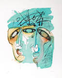 Portrait of Two in Blue Collectable Print by Vick Vibha