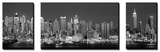 Skyline del West Side di notte in bianco e nero, New York, Stati Uniti Poster di Panoramic Images,