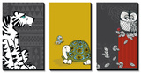 Retro Animals Triptych Poster
