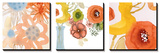 Watercolor Bouquets Triptych Poster