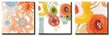Watercolor Bouquets Triptych Kunstdruck