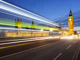 Motion Blurred Bus on Westminster Bridge and Houses of Parliament, London, England, UK, Europe Photographic Print by Stuart Black