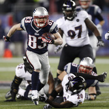 NFL Playoffs 2013: Patriots vs Ravens - Wes Welker Photographic Print by Stephan Savoia