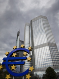 Euro Sculpture in Front of the Eurotower, the European Central Bank Headquarters, Germany, Europe Photographic Print by Ian Egner