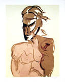 Untitled - Portrait of Man With Monkey Collectable Print by Vick Vibha