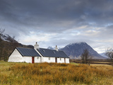 Black Rock Cottages and Buachaille Etive Mor, Rannoch Moor, Glencoe, Highland Region, Scotland Photographic Print by Chris Hepburn