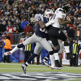 NFL Playoffs 2013: Patriots vs Ravens - Anquan Boldin Photographic Print by Elise Amendola