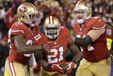 NFL Playoffs 2013: Packers vs 49ers - Frank Gore, Vernon Davis, and Joe Staley Fotografisk trykk