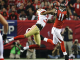 NFL Playoffs 2013: Falcons vs 49ers - Julio Jones Photographic Print by Mark Humphrey