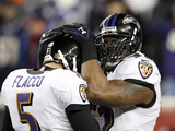 NFL Playoffs 2013: Patriots vs Ravens - Ray Lewis and Joe Flacco Photographic Print by Stephan Savoia